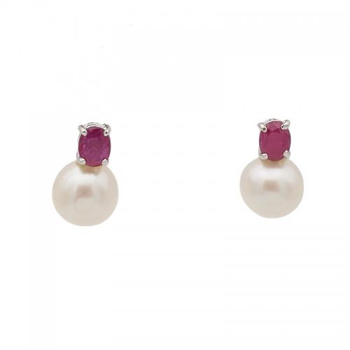 Pendientes de oro blanco, perlas  y rubíes  - 1