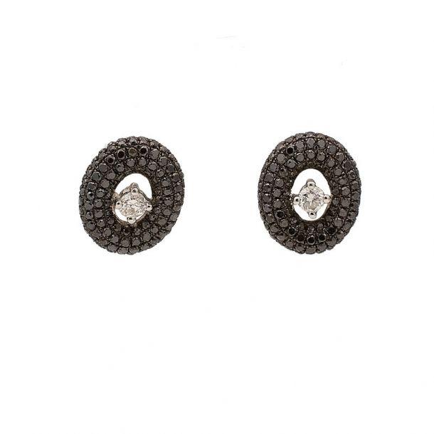 Pendientes de oro blanco y diamantes incoloros  y negros  - 1