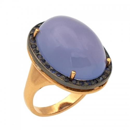 Sortija de oro rosa, calcedonia azul y zafiros  - 1