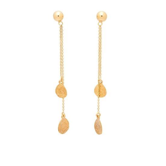 Pendientes de oro amarillo con cadenitas  - 1