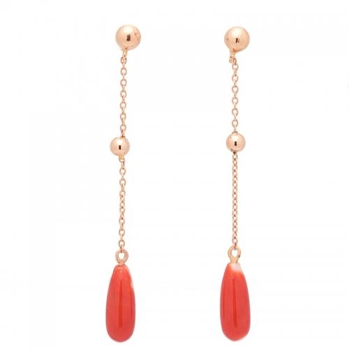 Pendientes de oro rosa y coral  - 1