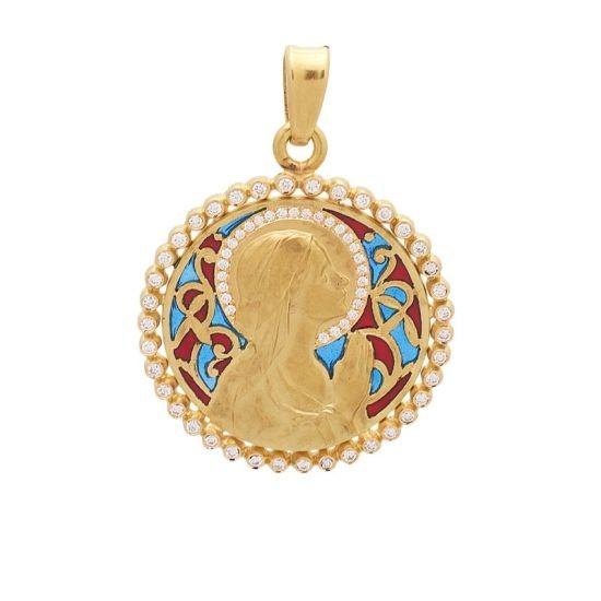 Medalla de oro con brillantes y esmalte.  - 1