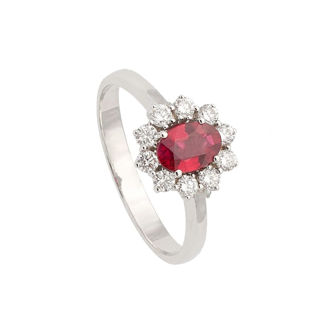 Sortija oro blanco, rubí y diamantes  - 1