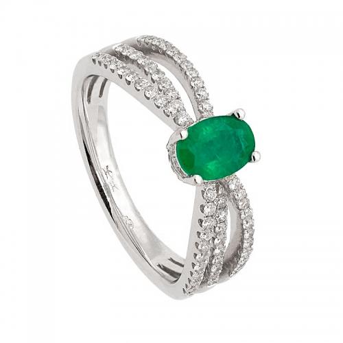Sortija de triple brazo con diamantes y esmeralda central  - 1