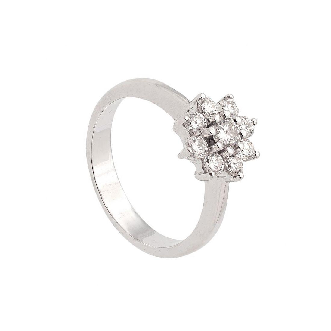 Sortija de oro blanco y diamantes  - 1