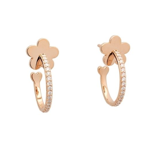 Pendientes de oro rosa y diamantes.  - 1
