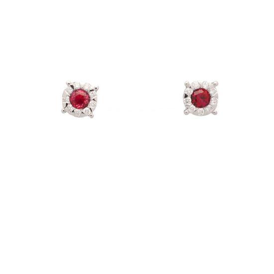 Pendientes de oro blanco con rubíes y diamantes  - 1