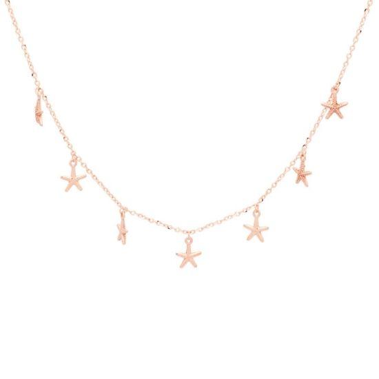 Cadena de oro rosa con estrellas.  - 1