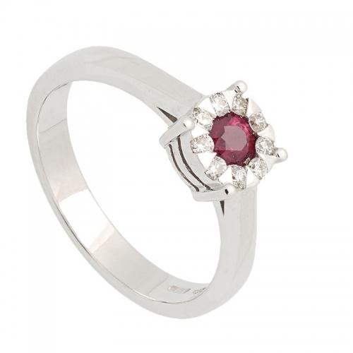Sortija de oro blanco con rubí y diamantes  - 1