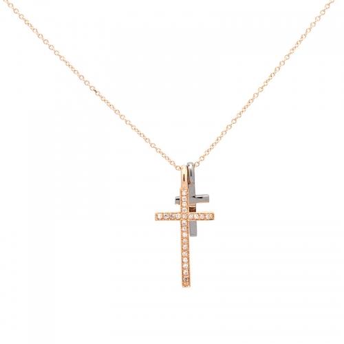 Gargantilla de oro rosa con cruces  - 1