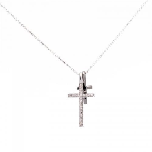 Gargantilla de oro blanco con cruces  - 1