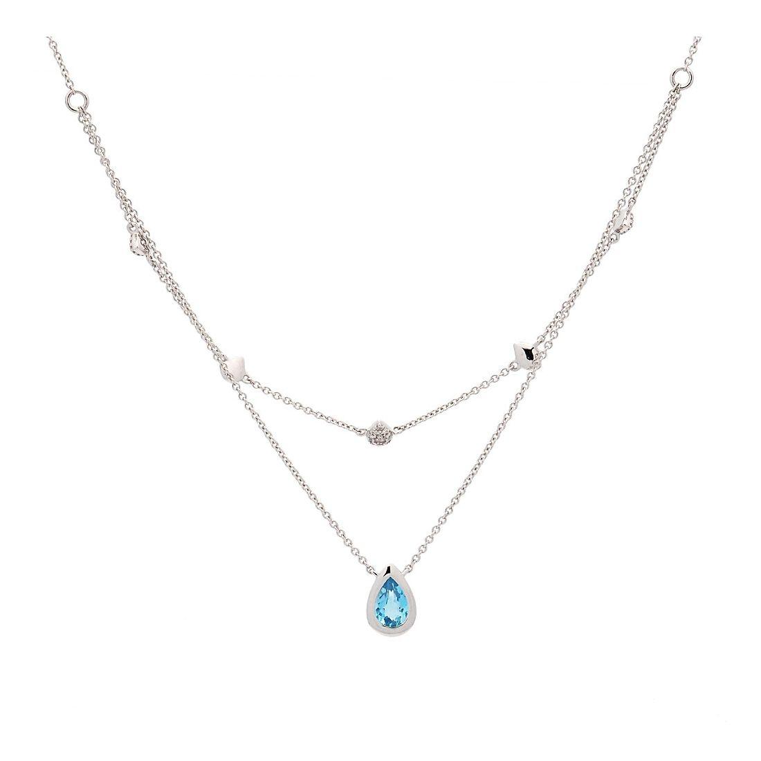 Cadena de oro blanco, topacio y diamantes  - 1
