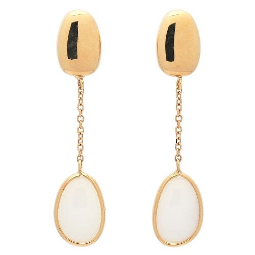 Pendientes de oro amarillo con piedra blanca  - 1