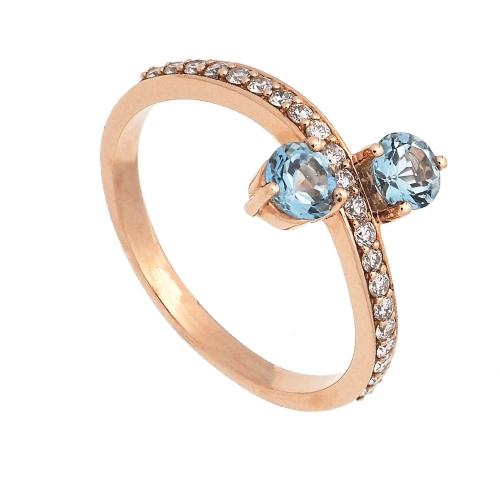 Sortija de oro rosa, topacios y diamantes  - 1