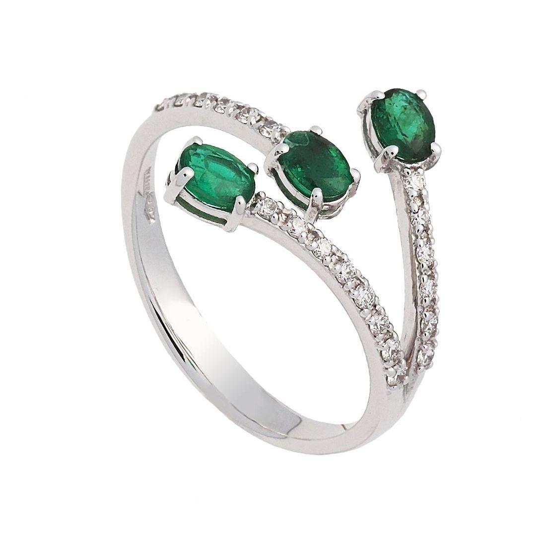 Sortija oro blanco esmeraldas y diamantes  - 1