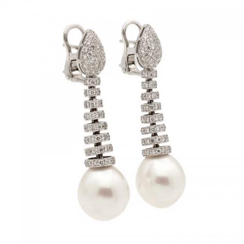 Pendientes de oro blanco, perlas australianas y diamantes  - 1
