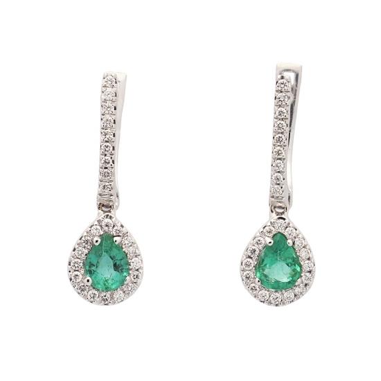 Pendientes de diamantes y esmeraldas  - 1