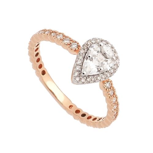 Sortija de oro rosa con diamantes  - 1