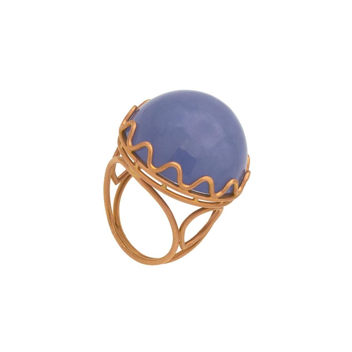 Sortija de oro rosa y calcedonia azul  - 1