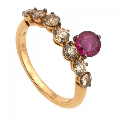 Sortija de oro rosa con brillantes brown y rubí  - 1